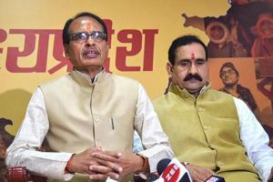 Bhopal: Madhya Pradesh Chief Minister Shivraj Singh Chouhan addresses a press conference at his residence before submitting his resignation to Governor Anandiben Patel, in Bhopal, Wednesday, Dec. 12, 2018. (PTI Photo)(PTI12_12_2018_000083B)