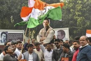 New Delhi: Congress party workers celebrate the party