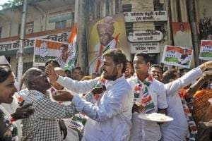 Congress party worker celebrate the party