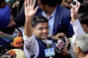 Rajasthan Pradesh Congress Committee President Sachin Pilot waves at the crowd while going to attend the Congress Legislature Party meeting at the party office in Jaipur, Wednesday, Dec 12, 2018.