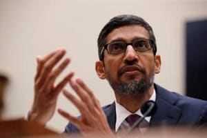 """Google CEO Sundar Pichai testifies at a House Judiciary Committee hearing """"examining Google and its Data Collection, Use and Filtering Practices"""" on Capitol Hill in Washington, US."""