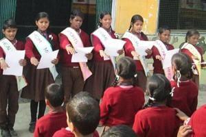 Bal Sansad underway at a primary school in Tilauli in Gorakhpur