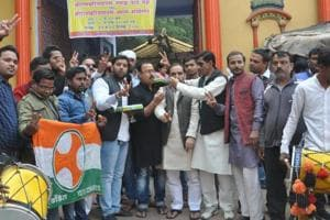 Elated over the party's performance in assembly elections in Rajasthan, Chhattisgarh and Madhya Pradesh, Congress workers gathered in large numbers at Sankat Mochan temple premises in Varanasi and celebrated the occasion