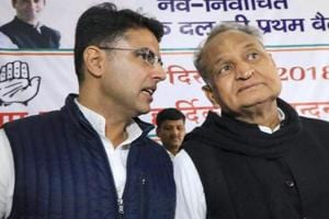 Congress leaders Sachin Pilot and senior leader Ashok Gehlot during a meeting with the newly elected MLA