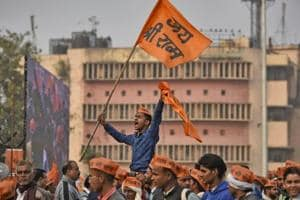 """Supporters of the Vishva Hindu Parishad (VHP) at """"Dharma Sabha"""" or a religious congregation organised by the VHP at Ramlila Ground to press their demand for the construction of Ram Temple in Ayodhya, in New Delhi."""