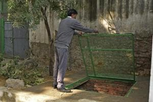 A compost pit for disposing sanitary napkins inside NP Girls School, Gole  Market, New Delhi.