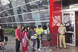 The man was caught with a packet of gold paste taped to his body at the IGIairport in New Delhi.