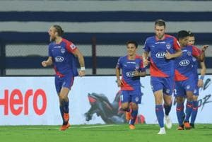 Erik Paartalu of Bengaluru FC celebrates the goal with team players during match 56 of the Hero Indian Super League 2018 ( ISL ) between Bengaluru FC and ATK held at the Sree Kanteerava Stadium.