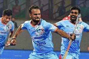 India hockey player Lalit Upadhyay celebrates his 2nd goal against Canada during a match of Men