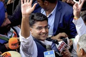 Assembly elections 2018: Rajasthan Pradesh Congress Committee President Sachin Pilot waves at the crowd while going to attend the Congress Legislature Party meeting at the party office in Jaipur.