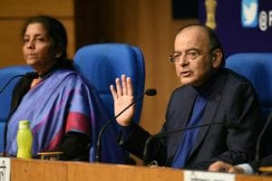 Union ministers Arun Jaitley, Nirmala Sitharaman addressing a press conference after  Supreme Court ruling on Rafale deal