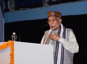 Former HRD Minister Murli Manohar Joshi while giving speech at the concluding event of the 10-day BKS Iyengar birth centenary year celebrations at Shiv Chhatrapati Sports Complex, Balewadi.