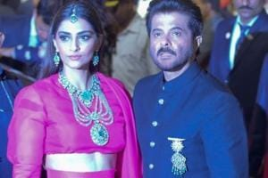 Actor Anil Kapoor with his daughter Sonam Kapoor at the wedding ceremony of industrialist Mukesh Ambani