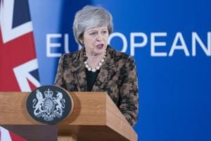 Theresa May, UK prime minister, speaks during a news conference at a European Union (EU) leaders summit in Brussels, Belgium, on December 14.