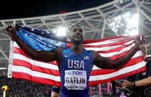 FILE PHOTO: Justin Gatlin of the U.S. celebrates after winning a race.