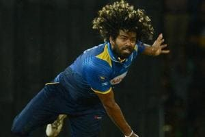 Lasith Malinga delivers the ball during the Twenty20 international cricket match between Sri Lanka and India in Colombo.