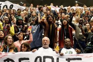 There were protests by climate activists at the COP24 venue on Friday afternoon.