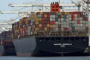 The container ship Maersk Emerald is unloaded at the Port of Oakland, California.