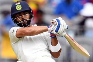 Virat Kohli plays a shot during day two of the second Test cricket match between Australia and India.