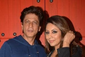 Shah Rukh Khan along with his wife Gauri Khan during the reopening of corner house in Mumbai.