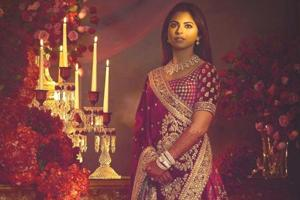 Isha Ambani's Sabyasachi lehenga with lush velvet fabric and that super glam colour is fit for a queen. (Instagram)