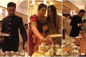 Abhishek Bachchan, Aishwarya Rai, Shah Rukh Khan and more served food at Isha Ambani's wedding.
