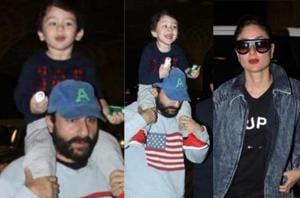 Saif Ali Khan, Kareena Kapoor and Taimur were spotted at the airport.