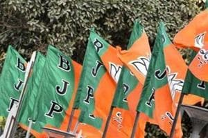 BJP flags in New Delhi.