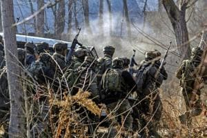 Army soldiers during an encounter with militants in Pulwama district on Saturday.