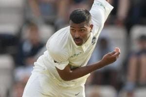 Hardik Pandya in action during day one of the 4th Specsavers Test Match between England and India.