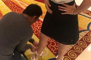 Sakshi also shared another similar post which shows Dhoni helping her with a bracelet.