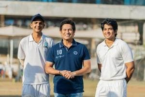 Selection Day actors Yash Dholye and Mohammad Samad pose with Sachin Tendulkar.