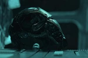 Iron Man's helmet lies damaged in a still from the Avengers: Endgame trailer.