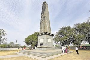 The victory memorial at Bhima Koregaon where the violence erupted.