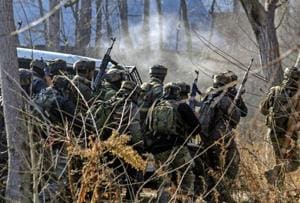 Army soldiers during an encounter with the militants at Sirnoo in Pulwama district of south Kashmir,  December 15