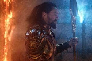 This image released by Warner Bros. Pictures shows Jason Momoa, left, and Patrick Wilson in a scene from Aquaman.