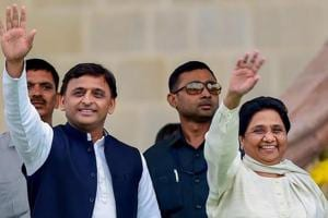 Samajwadi Party leader Akhilesh Yadav with Bahujan Samaj Party leader Mayawati.