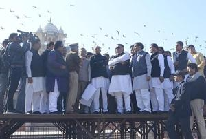 CM Ashok Gehlot along with senior party leaders inspects the preparations on the eve of oath ceremony of him and CM ashok Gehlot, at Albert Hall Museum, in Jaipur, Rajasthan, India on Sunday