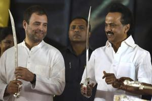 DMK chief Stalin endorsed  during an event in Chennai to unveil the statue of his father, the late M Karunanidhi.