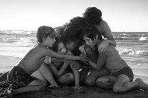 Marco Graf as Pepe, Daniela Demesa as Sofi, Yalitza Aparicio as Cleo, Marina De Tavira as Sofia, Diego Cortina Autrey as Toño, Carlos Peralta Jacobson as Paco in Roma, written and directed by Alfonso Cuarón.