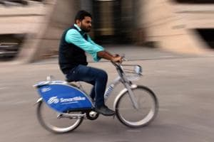 A man rides smart bicycle during a tour organised by New Delhi Municipal council (NDMC) along with a Hyderabad based start-up SmartBike Mobility Pvt Ltd, at NDMC Headquarters, in New Delhi.