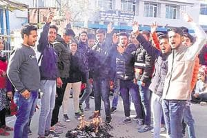 About 70-80 college students, including the victim's classmates, gathered at the district collectorate, demanding the administration to hang the accused as soon as possible.