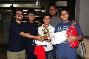 (From left) Arijit Mallick (trainer and founder, Lydnow Robotics), Aryan Chaubal, Pratham Zende, Rahul Swaminathan (senior trainer, Lydnow Robotics) and Zyfn Kothavala.
