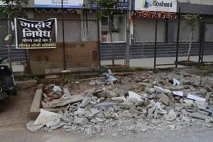 The civic authorities demolished a temple near Aranyeshwar road on Monday.