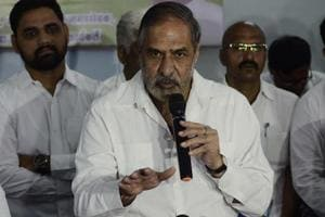 Anand Sharma at a press conference in Congress bhavan (Abhay Khairnar story) in Pune, India.
