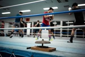This picture taken on December 7, 2018 shows amateur boxers attending a boxing training session at Takushoku University in Hachioji. - The International Olympic Committee said this month it was suspending preparations for boxing at the Tokyo 2020 Games over governance concerns
