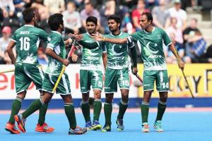 File image of players of Pakistan hockey team celebrating a goal during a match.