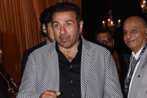 Indian Bollywood actor Sunny Deol attends the wedding reception of Isha Ambani.