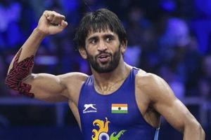 File image: Indian wrestler Bajrang Punia reacts after winning the World Championship 2018 semifinal match in Budapest.