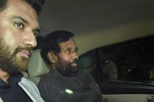 LJP chief Ram Vilas Paswan leaves after meeting BJP chief Amit Shah on Thursday.
